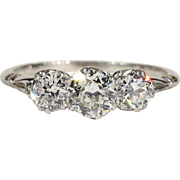 Antique 3 Stone Diamond Ring, Edwardian Platinum Engagement