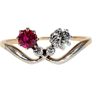 Antique Edwardian Ruby and Diamond Bypass Ring