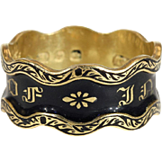Unusual Antique 'In Memory Of' Ring, Black Enamel with Wavy Edge, Victorian 18k Gold