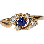 Antique Art Nouveau Sapphire Diamond Twist Ring 18k Gold