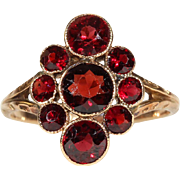 Antique Edwardian Garnet Cluster Ring in 9k Rose Gold, English c. 1910