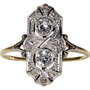 Russian Art Deco Diamond Ring Engagement
