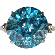 Vintage Art Deco Blue Zircon Ring Solitaire