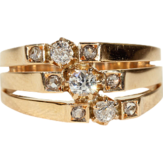 Antique Victorian Gold Triple Diamond Stack Ring