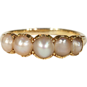 Antique Victorian 5 Pearl Stacking Band Ring
