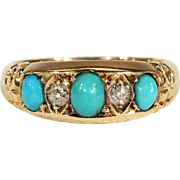 Antique Turquoise and DIamond 5 Stone Ring in 18k Gold, Hallmarked 1907