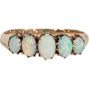 Antique Opal 5 Stone Edwardian Ring in 9k Gold, Hallmarked 1902