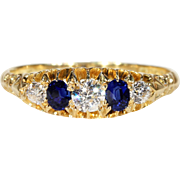 Antique Sapphire Diamond Gold Ring Hallmarked 1914