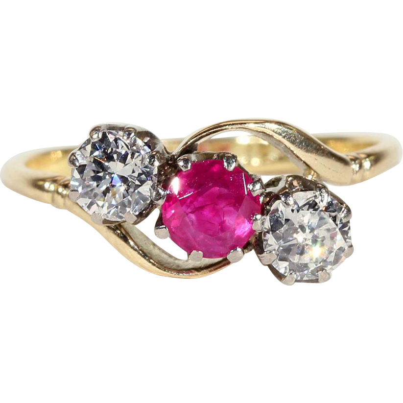 Antique Ruby And Diamond 3 Stone Bypass Ring In 18k Gold