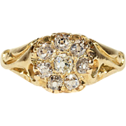 Antique Victorian Diamond Cluster Ring in 18k Gold