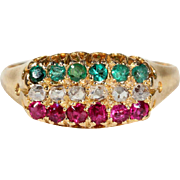 Antique Victorian Ruby, Diamond and Emerald Ring in 18k Gold