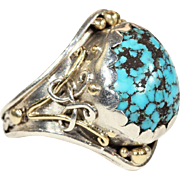 Antique Arts & Crafts Turquoise Ring in Silver with Gold Accents