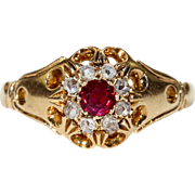 Antique Edwardian Ruby Diamond Cluster Ring