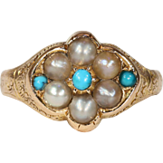 Antique Victorian Pearl and Turquoise Cluster Ring 15k Gold