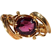 Antique Victorian Garnet Solitaire RIng 18k Gold