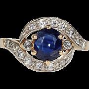 Edwardian Sapphire Diamond Bypass Ring