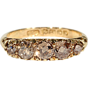Antique Edwardian Brown Diamond 5 Stone Ring, 18k Gold, Hallmarked 1913, *VIDEO*