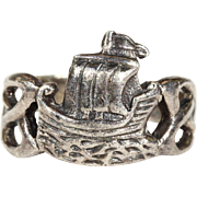 Galleon Ship Silver Ring Midcentury Scandinavian