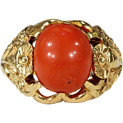 Antique Red Coral Button Ring with Floral Motif