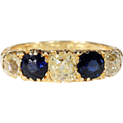 Antique Edwardian Diamond Sapphire Ring Hallmarked 1912