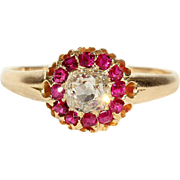 Antique Victorian Ruby and Diamond Engagement Cluster Ring in 18k Gold