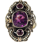 Antique Victorian Amethyst Seed Pearl Ring