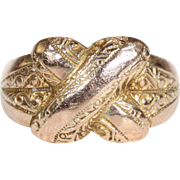 Edwardian Unusual Love Knot Ring Engraved Hallmarked 1909