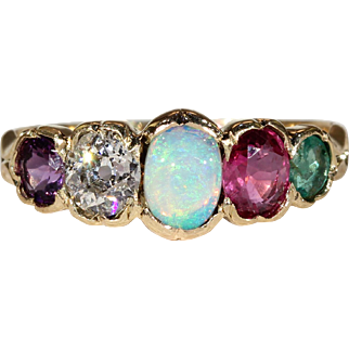 Antique ADORE Ring, Amethyst, Diamond, Opal, Ruby and Emerald