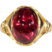 Antique Cabochon Garnet Ring 15k Gold 1871
