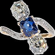 French Edwardian Diamond Sapphire Ring