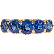 Victorian Untreated Sapphire Yellow Gold Five Stone Ring