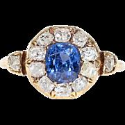 Victorian Sapphire Diamond Cluster Ring