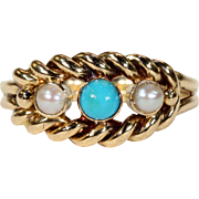 Antique Victorian Pearl Turquoise Ring Gold Hallmarked 1899