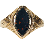 Antique Victorian Bloodstone Ring Hallmarked 1874