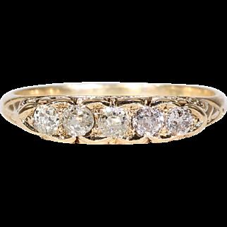 Victorian 5 Stone Diamond Ring Old European Cuts