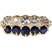 Victorian Double Row Sapphire Diamond Ring