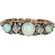 Antique Victorian Opal Diamond Ring 5 Stone