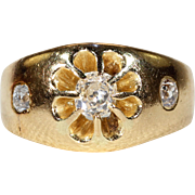 Victorian Floral Motif Diamond Engagement Ring Yellow 18k Gold
