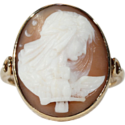 Antique Gold Cameo Ring with Nyx Goddess of Night