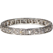Art Deco Platinum Diamond Eternity Band Ring Wedding Size 6