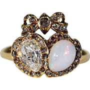 Antique Diamond Opal Luckenbooth Ring Double Heart