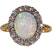 Victorian Antique Bright Opal Diamond Gold Cluster Ring