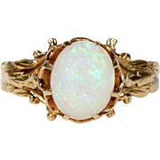 Antique French Opal Solitaire Ring 18k Gold