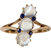 Antique Edwardian Moonstone Sapphire Gold Ring