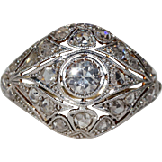 Antique Edwardian Diamond Dome Ring Cocktail Ring