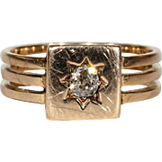 Antique Diamond Solitaire Triple Band Ring Victorian