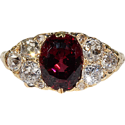 Gorgeous Victorian Garnet Diamond Ring 18k Gold