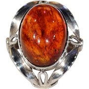 Vintage Silver Amber Mid-Century Ring
