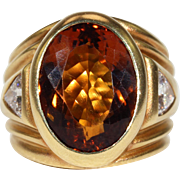 Vintage Citrine Diamond Ring Cocktail
