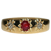 Antique Edwardian 3 Stone Ruby and Diamond Gypsy Ring, 18k Gold 1904